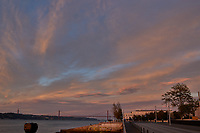 Sunrise Panorama over the Tagus River in Lisbon. Eight of eight images taken with a Leica CL camera and 23 mm f/2 lens (ISO 200, 23 mm, f/8, 1/60 sec). Raw images processed with Capture One Pro and AutoPano Giga.