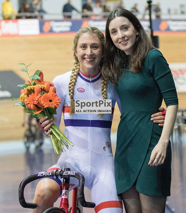 Laura Trott is presented with a bouquet for winning the Elimination Race during the Revoultion Series 2015/6 Round 5 Manchester, on 2 January 2016 ( (Photo by Mike Poole - SportPix)