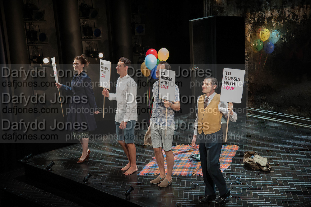 Hayley Atwell, Al Weaver,Harry Hadden-Paton and Mathew Horne during the curtain call, Press night performance of the Pride at Trafalgar Studios and afterwards at the Gladstone Library, National Liberal Club. Whitehall place. London. 13 August 2013.