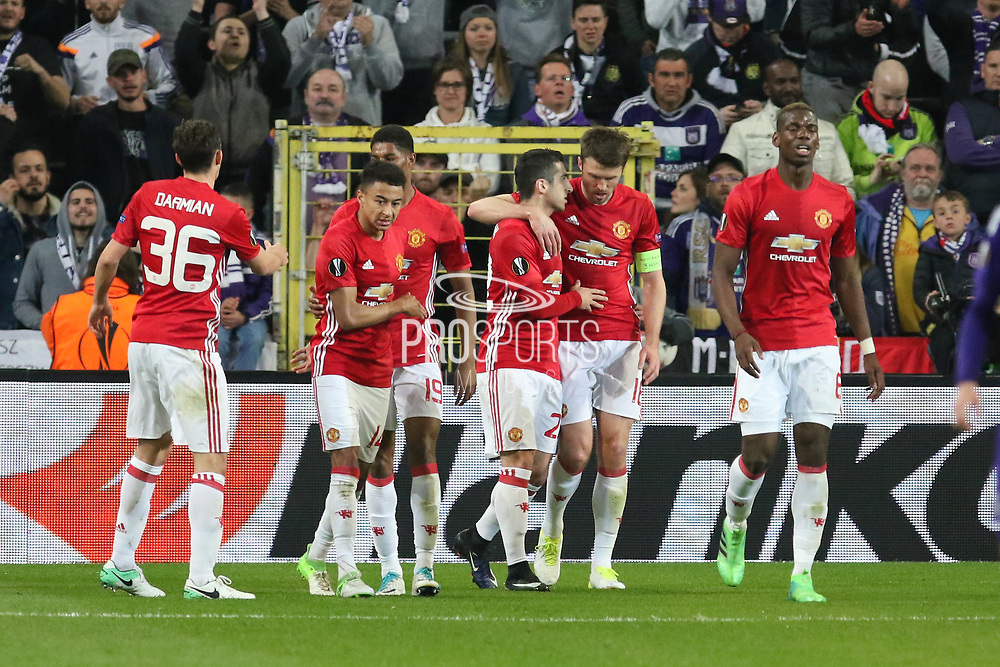 Henrikh Mkhitaryan Midfielder of Manchester United celebrates his goal with Michael Carrick Midfielder of Manchester United 0-1 during the UEFA Europa League Quarter-final, Game 1 match between Anderlecht and Manchester United at Constant Vanden Stock Stadium, Anderlecht, Belgium on 13 April 2017. Photo by Phil Duncan.