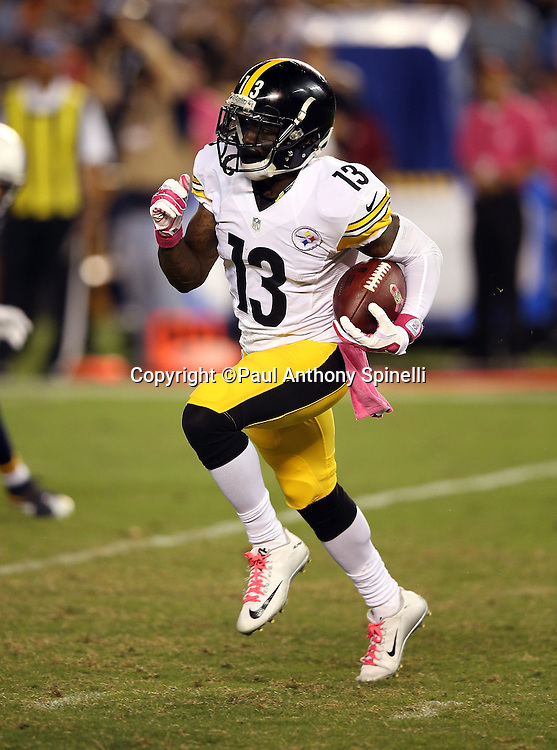 Pittsburgh Steelers running back Dri Archer (13) returns a fourth quarter kick to the 28 yard line during the 2015 NFL week 5 regular season football game against the San Diego Chargers on Monday, Oct. 12, 2015 in San Diego. The Steelers won the game 24-20. (©Paul Anthony Spinelli)