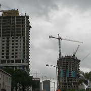 SEPTEMBER 9, 2017--MIAMI--FLORIDA<br /> Construction cranes above half built structures in downtown Miami Saturday morning.<br /> (Photo by Angel Valentin)