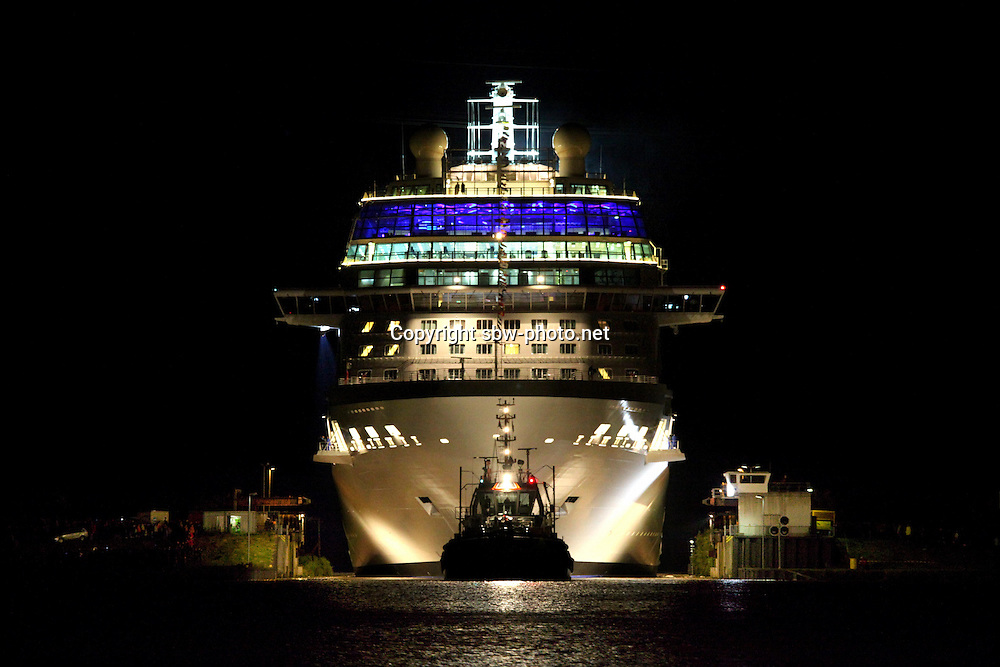 With less than 6 metres breathing room on either side,the new Celebrity Cruises 2,850-guest Celebrity Equinox  today left shipbuilder Meyer Werft in Papenburg, Germany, squeezing through a lock to make the 42-km transit  own the River Ems.