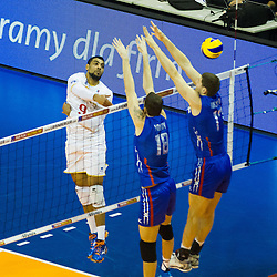 06.01.2016, Max Schmeling Halle, Berlin, GER, CEV Olympia Qualifikation, Frankreich vs Russland, im Bild Earvin Ngapeth (#9, Frankreich) // 2016 CEV Volleyball European Olympic Qualification Match between France and Russia at the Max Schmeling Halle in Berlin, Germany on 2016/01/06. EXPA Pictures © 2016, PhotoCredit: EXPA/ Eibner-Pressefoto/ Wuechner<br /> <br /> *****ATTENTION - OUT of GER*****