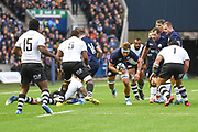 James Ritchie goes for the gap during the 2018 Autumn Test match between Scotland and Fiji at Murrayfield, Edinburgh, Scotland on 10 November 2018.