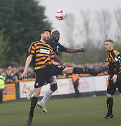 Alloa Athletic's Ben Gordon and Dundee's Christian Nade - Alloa Athletic v Dundee, SPFL Championship at Recreation Park, Alloa<br /> <br />  - &copy; David Young - www.davidyoungphoto.co.uk - email: davidyoungphoto@gmail.com