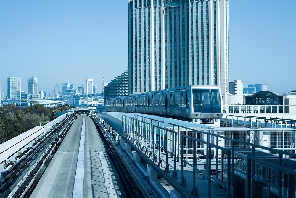 Yurikamome elevated train line, Odaiba, Tokyo, Kanto Region, Honshu, Japan