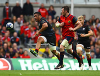 Rugby Union - 2016 / 2017 European Rugby Champions Cup - Semi-Final: Munster vs. Saracens<br /> <br /> Mako Vunipola of Saracens kicks ahead at the Aviva Stadium, Dublin.<br /> <br /> COLORSPORT/KEN SUTTON