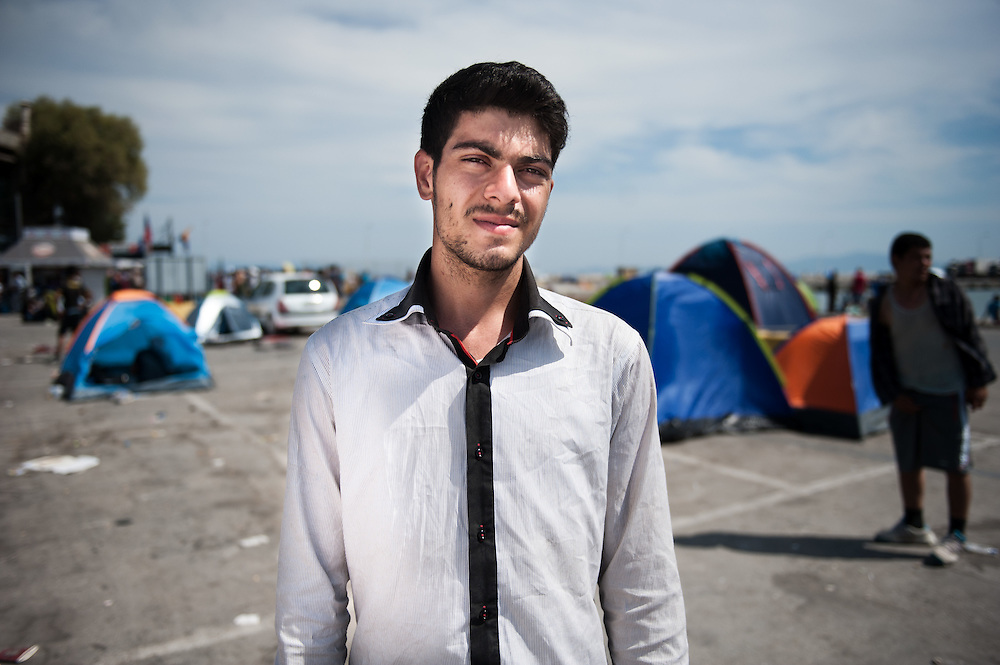 Umit from Afghanistan after 3 days got registered with the Greek police and now waits at the Mytiline port for the boat to take him to mainland Greece.
