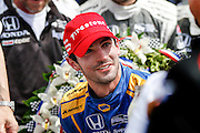29 May, 2016, Indianapolis, Indiana, USA<br /> Alexander Rossi getting out of the car in victory lane<br /> &copy;2016, Sam Cobb<br /> LAT Photo USA