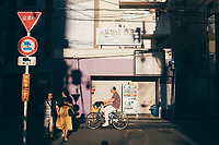 A street scene in the Dotonburi area of Osaka, Japan.