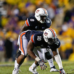Sep 21, 2013; Baton Rouge, LA, USA; Auburn Tigers linebacker LaDarius Owens (10) against the LSU Tigers during the second half of a game at Tiger Stadium. LSU defeated Auburn 35-21. Mandatory Credit: Derick E. Hingle-USA TODAY Sports