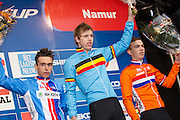 BELGIUM / NAMEN / NAMUR / CYCLING / WIELRENNEN / CYCLISME / CYCLOCROSS / CYCLO-CROSS / VELDRIJDEN / WERELDBEKER / WORLD CUP / COUPE DU MONDE / JUNIORS / PODIUM / CELEBRATION / HULDIGING / (L-R) ADAM TOUPALIK (CZE) / YANNICK PEETERS (BEL) / JORIS NIEUWENHUIS (NED) /