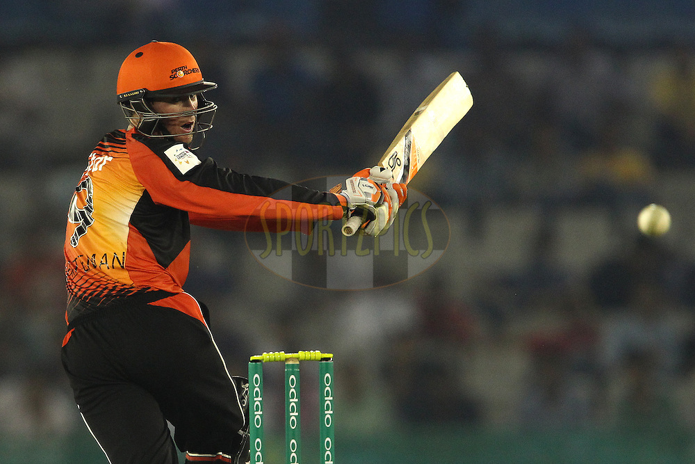 Sam Whiteman of the Perth Scorchers looks back after missing a delivery during match 4 of the Oppo Champions League Twenty20 between the Dolphins and the Perth Scorchers held at the Punjab Cricket Association Stadium, Mohali, India on the 20th September 2014<br /> <br /> Photo by:  Shaun Roy / Sportzpics/ CLT20<br /> <br /> <br /> Image use is subject to the terms and conditions as laid out by the BCCI/ CLT20.  The terms and conditions can be downloaded here:<br /> <br /> http://sportzpics.photoshelter.com/gallery/CLT20-Image-Terms-and-Conditions-2014/G0000IfNJn535VPU/C0000QhhKadWcjYs