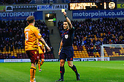 Motherwell FC Defender Stevie Hammell yellow carded during the Ladbrokes Scottish Premiership match between Motherwell and Heart of Midlothian at Fir Park, Motherwell, Scotland on 28 November 2015. Photo by Craig McAllister.