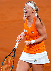 Kiki Bertens celebrate after the match against Aljaksandra Sasnovich in the Fed Cup qualifier against Belarus in Sportcampus Zuiderpark, The Hague, Netherlands