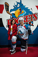 KELOWNA, CANADA - JANUARY 3: Kelvin Hair #3 of the Kelowna Rockets poses with a fan after warm up against the Tri-City Americans on January 3, 2017 at Prospera Place in Kelowna, British Columbia, Canada.  (Photo by Marissa Baecker/Shoot the Breeze)  *** Local Caption ***