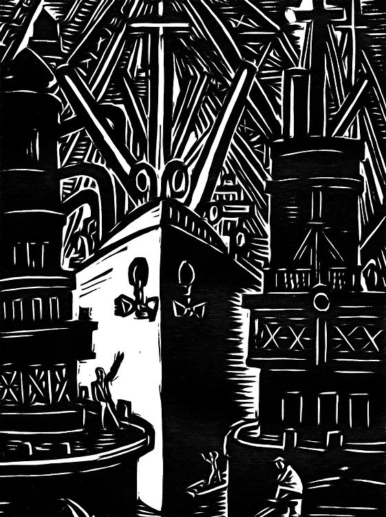 Black / white drawing of ships in port