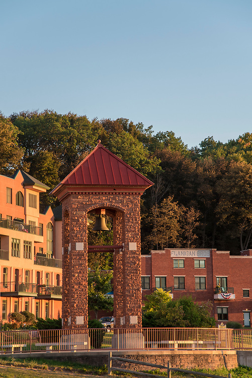 The Fireman Memorial bell tower on the Lake Superior waterfront of downtown Marquette, Michigan.