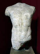 Male Torso.  The representation of the naked male body was a very popular theme in Greek sculpture.  During the 6th and the early 5th century BC naked male figures meant to be portraits, were erected on the tombs of young men of noble descent.  In sanctuaries the same type of statue represented humans, heroes or gods.  Greek, 1st quarter of the 5th century BC.  Probably from the island of Paros.