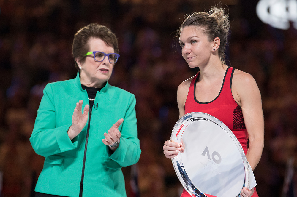 Simona Halep of Romania with Billie Jean King during the trophy presentation after winning the women's singles championship match during the 2018 Australian Open on day 13 in Melbourne, Australia on Saturday night January 27, 2018.<br /> (Ben Solomon/Tennis Australia)