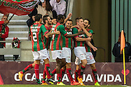 Portugal, FUNCHAL : Maritimo's Brazilian midfielder Bruno Gallo (2ºR) celebrates with his teammates after scoring against F.C. Porto during Portuguese League football match Maritimo vs F.C. Porto at Barreiros Stadium in Funchal on January  25, 2015.  PHOTO/ GREGORIO CUNHA