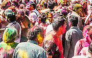 Celebrating Holi, a Hindu festival celebrating spring and love with colours. Photographed in Jaipur, Rajasthan, India