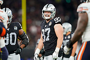 Foster Moreau (TE) of the Oakland Raiders jokes with fellow players during the International Series match between Oakland Raiders and Chicago Bears at Tottenham Hotspur Stadium, London, United Kingdom on 6 October 2019.