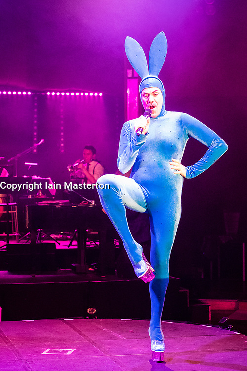 Edinburgh, Scotland, United Kingdom. 21November, 2017. Cabaret group Le Clique present their Christmas show Le Clique Noel at the Spiegeltent in Edinburgh as part of the city's annual Christmas festivities. Scott Grabell, aka Scotty the Blue Bunny performs.