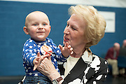 24/05/2014 Liam Loughlin 13 Months with his grand aunt Cllr Terry O'Flaherty re-elected in Galway City East at the Count Centre in Westside Community centre. Photo:Andrew Downes