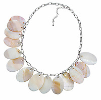 kabibe shell necklace on a silver link chain