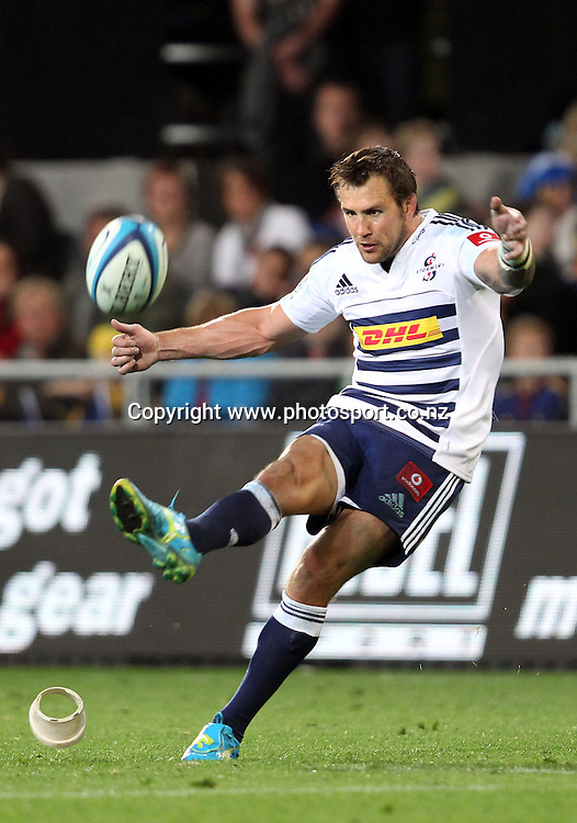 Peter Grant kicks a goal.<br /> Investec Super Rugby - Highlanders v Stormers, 7 April 2012, Forsyth Barr Stadium, Dunedin, New Zealand.<br /> Photo: Rob Jefferies / photosport.co.nz