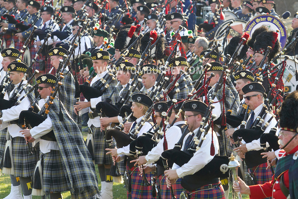 West Point, New York - Pipe and drum bands perform at the 32nd annual West Point Military Tattoo at Trophy Point the United States Military Academy  on  April 13, 2014.