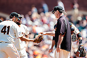 Bruce Bochy is giving the ball to Jeremy Afield, #41, during an MLB game between the San Francisco Giants and the San Diego Padres, at AT&amp;T Park in San Francisco, CA.<br /> The Giants won 13-8 in 9 innings.<br /> Credit : Glenn Gervot