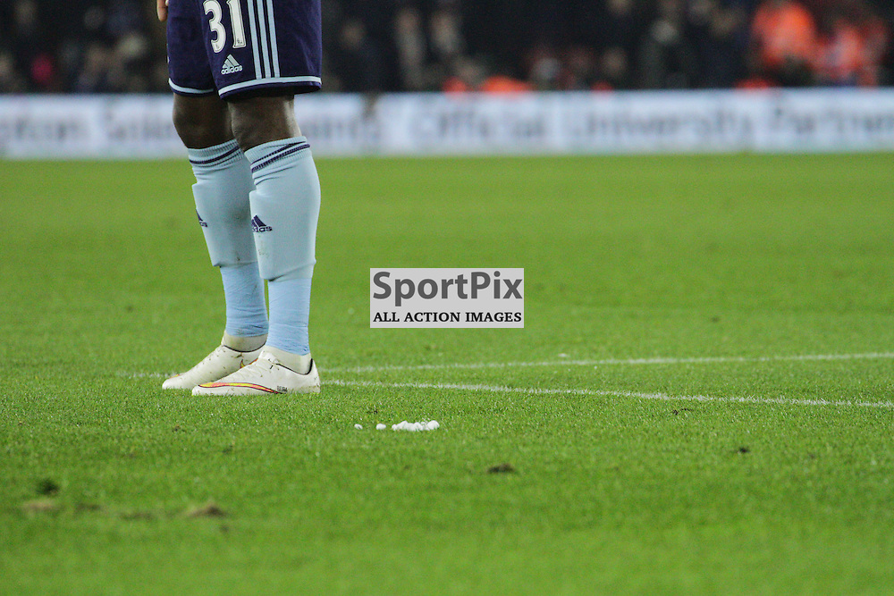 West Ham striker Enner Valencia stands in front of the Marking spray During the game between Southampton FC and West Ham United on Wednesday 11th February 2015