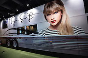 Display of singer Talyor Swift tour bus on display in the Country Music Hall of Fame in Nashville, TN.