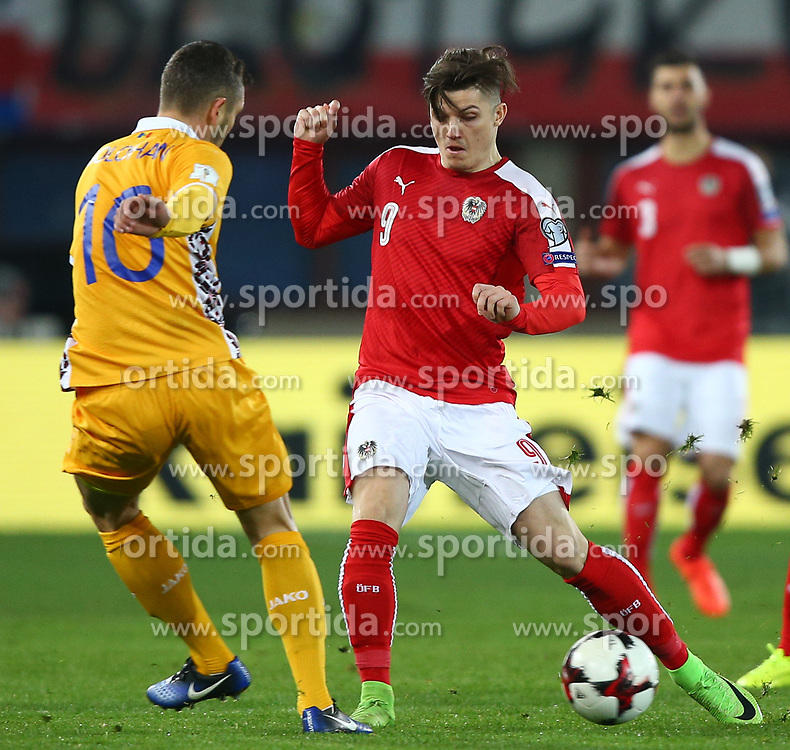 24.03.2017, Ernst Happel Stadion, Wien, AUT, FIFA WM 2018 Qualifikation, Oesterreich vs Moldawien, Gruppe D, im Bild Vadim Bolohan (MDA) und Marcel Sabitzer (AUT) // during the FIFA World Cup 2018, group D qualifying match between Austria and Moldova at the Ernst Happel Stadion in Wien, Austria on 2017/03/24. EXPA Pictures © 2017, PhotoCredit: EXPA/ Thomas Haumer