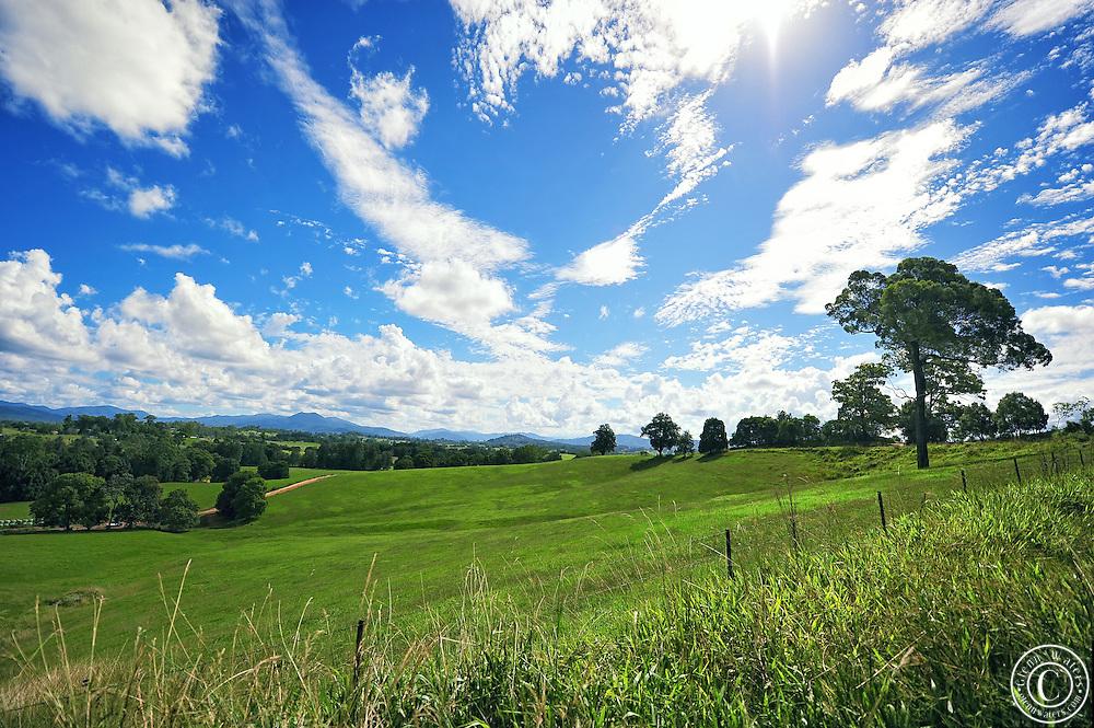 An Australian dairy farm in north east NSW.<br /> The wide Australian sky.