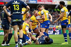 Jack Walker of Bath Rugby scores a try in the first half - Mandatory byline: Patrick Khachfe/JMP - 07966 386802 - 15/12/2019 - RUGBY UNION - Stade Marcel-Michelin - Clermont-Ferrand, France - Clermont Auvergne v Bath Rugby - Heineken Champions Cup