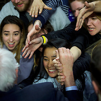 "PHILADELPHIA, PA - April 6, 2016.  Bernie Sanders greets supporters after speaking during at ""A Future to Believe"" rally in the Liacouras Center at Temple University in Philadelphia, PA on April 6, 2016.  CREDIT: Mark Makela for The New York Times"