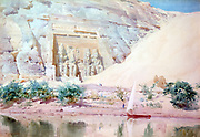 Abu Simbel', Watercolour. Robert Talbot-Kelly (1861-1934) English orientalist landscape painter.  The great limestone statues of Ramses II at the entrance viewed from the River Nile. Egypt Landscape Water Ruins