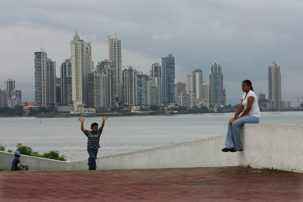 "A view of the Panama City Skyline from a small boardwalk in Casco Viejo, the colonial part of Panama City which is being revitalized.  There are now various shops and restaurants throughout the neighborhood.  Panama is poised to become the ""next Costa Rica"", though tourists have yet to begin flocking to the central american country.  The Capital, Panama City, is home to the Panama Canal and, due to the former US military presence, is one of the continents capitals most comfortable for people from the United States.  The country offers a variety of eco-tourism opportunities as well as a capital that mixes a modern feel with a colonial center."
