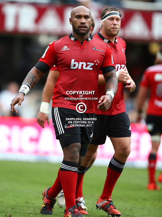 DURBAN, SOUTH AFRICA - APRIL 04:  (L) Nemani Nadolo (R) Wyatt Crockett of the Crusaders during the Super Rugby match between Cell C Sharks and Crusaders at Growthpoint Kings Park on April 04, 2015 in Durban, South Africa. (Photo by Steve Haag/Gallo Images)