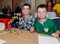 Dylan Duane and Stpehen McManus with Frankasaurs from Lawerencetown National School who took part in the  Medtronic Knex Challenge at the Radisson blu Hotel.  Medtronic KNEX Challenge is for  primary school children completing  exceptional tasks which will be judged on the level of engineering, innovation and communication displayed by the teams.. .The final event of the week is the Medtronic  Junior FIRST LEGO League challenge on THURSDAY. This is the second year The Galway Education Centre has hosted this competition - one of only six countries in the world who do so. Following the success of last year, over 500 school children from all over the country are expected to come along and practice their robotics, presentation and teamwork skills live on the night!. .Bernard Kirk, Director of The Galway Education Centre says; ?Working on this three day event every year is fun and exciting and always surprising. The talent, instinct and drive we discover in these young children is an inspiration to all of us. We look forward to the continued success of all of our challenges which would not be possible without the support of companies like Medtronic, SAP, HP and LEGO?.. .All of these events are open to the public and free admission. They will also be streamed live on line at www.galwayeducationcentre.ie. Photo:Andrew Downes.