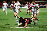 TRY Quentin MacDonald of Oyonnax during the French Championship Top 14 Rugby Union match between US Oyonnax Rugby and Lyon OU on April 28, 2018 at Charles Mathon stadium in Oyonnax, France - Photo Romain Biard / Isports / ProSportsImages / DPPI