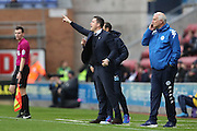 Wigan Athletic manager Gary Caldwell pointing, directing, signalling during the EFL Sky Bet Championship match between Wigan Athletic and Brighton and Hove Albion at the DW Stadium, Wigan, England on 22 October 2016.