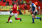 Charlton Athletic midfielder Mark Marshall (7) and Blackburn Rovers defender Paul Caddis (16) during the EFL Sky Bet League 1 match between Charlton Athletic and Blackburn Rovers at The Valley, London, England on 28 April 2018. Picture by Toyin Oshodi.