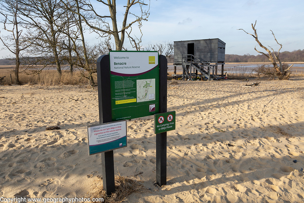 Benacre national nature reserve, North Sea coast, Suffolk, England, UK information sign notice