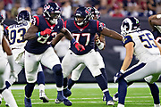 HOUSTON, TX - AUGUST 29:  Martinas Rankin #77 of the Houston Texans drops back to pass block during a game against the Los Angeles Rams during week four of the preseason at NRG Stadium on August 29, 2019 in Houston, Texas. The Rams defeated the Texans 22-10.   (Photo by Wesley Hitt/Getty Images) *** Local Caption *** Martinas Rankin