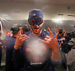 September 27, 2017 - St. Louis, MO, USA - Chicago Cubs third baseman Kris Bryant celebrates after the team clinched the National League Central Division with a 5-1 win against the St. Louis Cardinals at Busch Stadium in St. Louis on Wednesday, Sept., 27, 2017. (Credit Image: © Nuccio Dinuzzo/TNS via ZUMA Wire)
